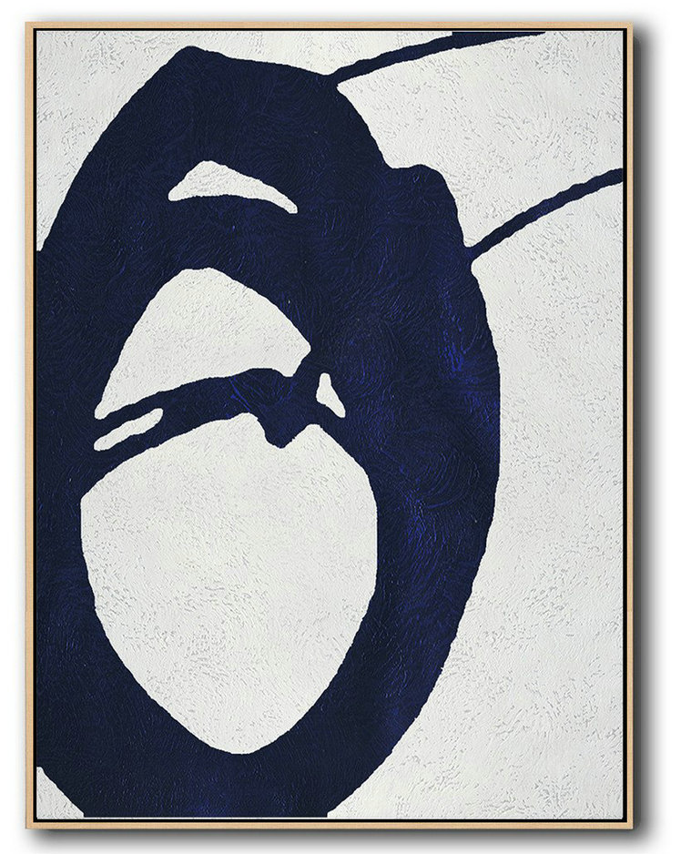 Buy Hand Painted Navy Blue Abstract Painting Online,Original Extra Large Wall Art #L4T8