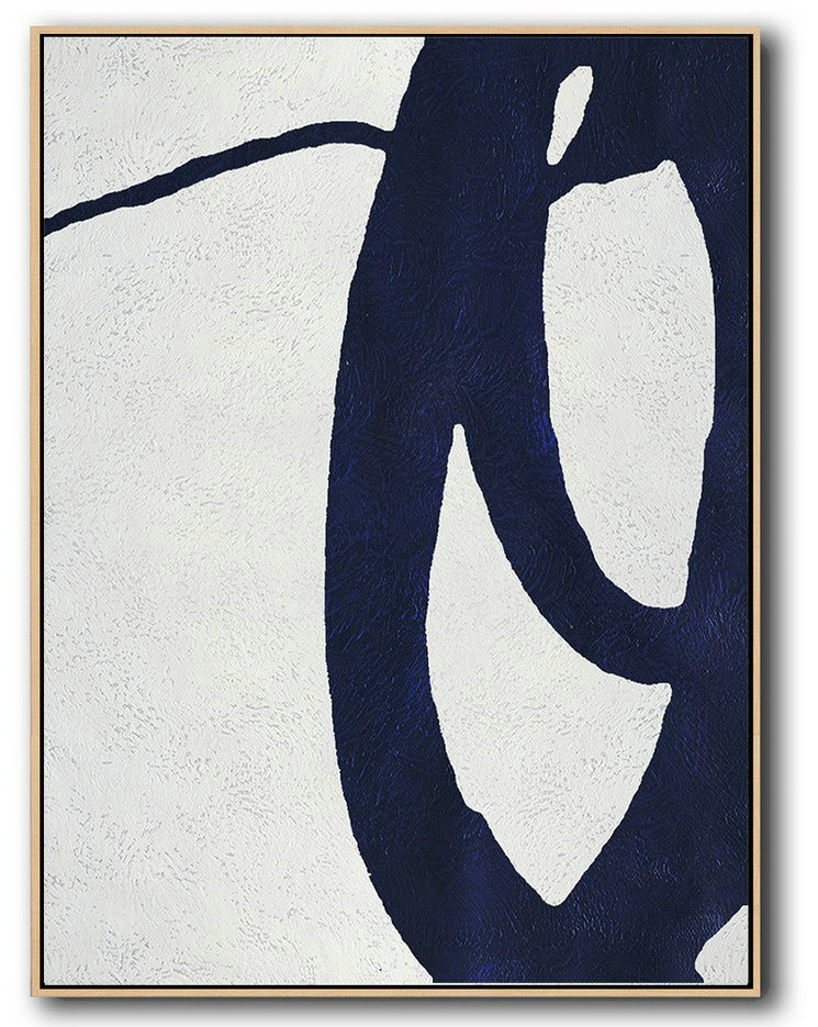 Buy Hand Painted Navy Blue Abstract Painting Online,Contemporary Wall Art #M1S6