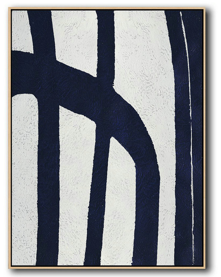Buy Hand Painted Navy Blue Abstract Painting Online,Contemporary Art Canvas Painting #O9O1
