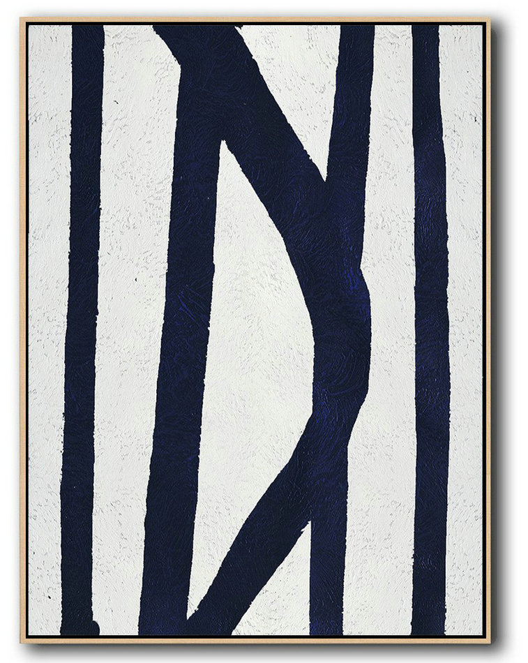 Buy Hand Painted Navy Blue Abstract Painting Online,Oversized Art #U7J8