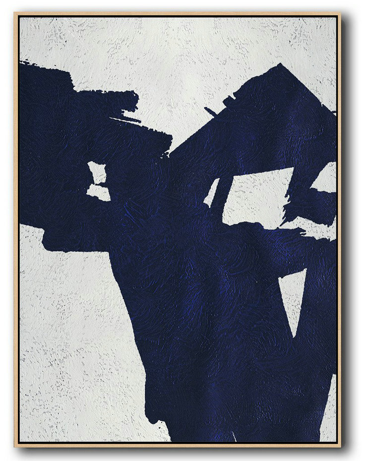 Buy Hand Painted Navy Blue Abstract Painting Online,Modern Wall Art #J8V9