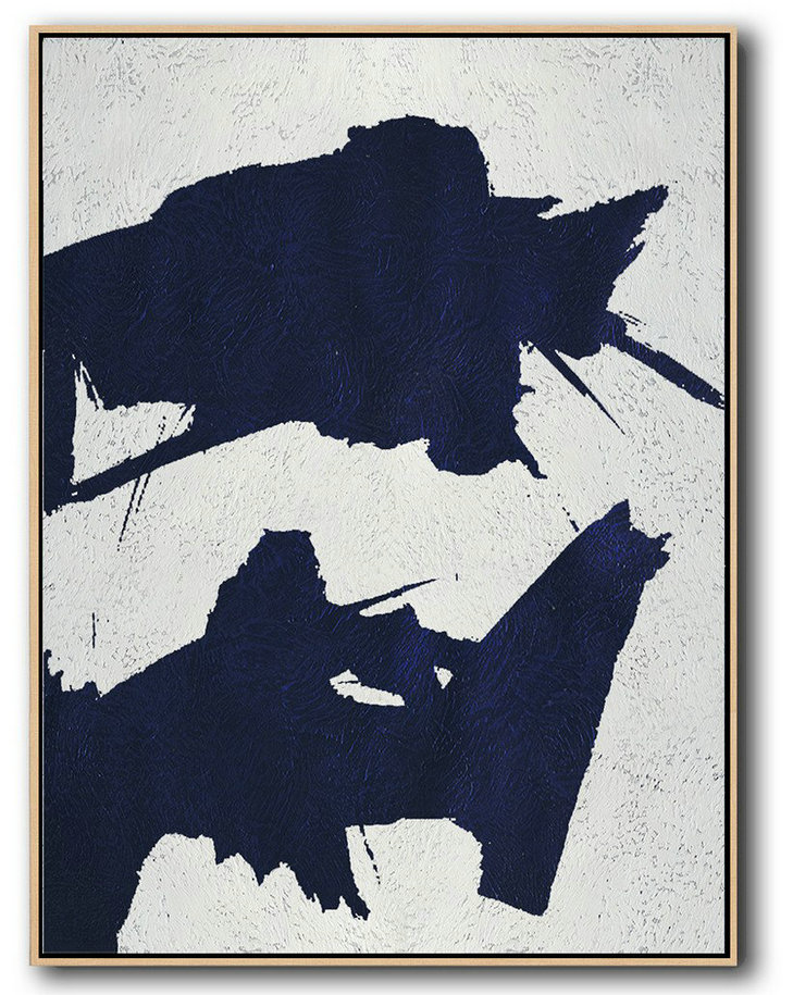 Buy Hand Painted Navy Blue Abstract Painting Online,Artwork For Sale #W9M0