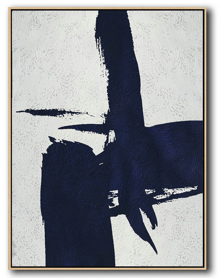 Buy Hand Painted Navy Blue Abstract Painting Online,Abstract Oil Painting #O3B7