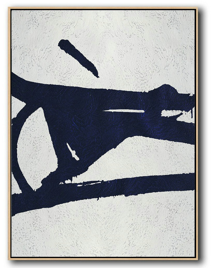 Buy Hand Painted Navy Blue Abstract Painting Online,Art Work #H8I3
