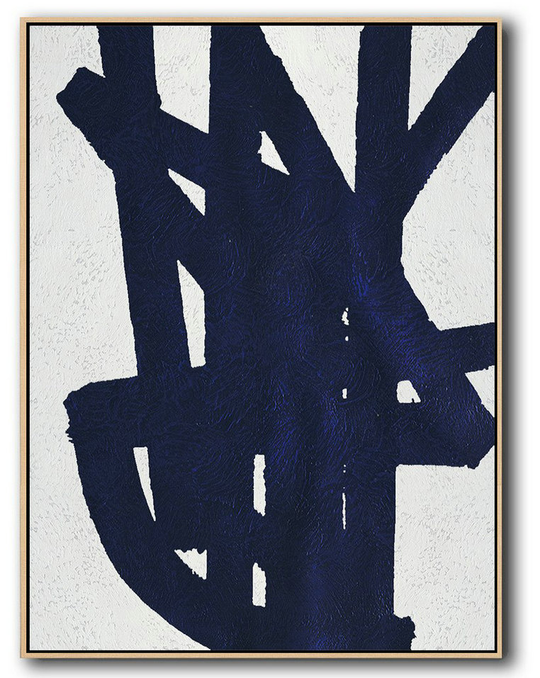 Buy Hand Painted Navy Blue Abstract Painting Online,Large Abstract Wall Art #C7E6
