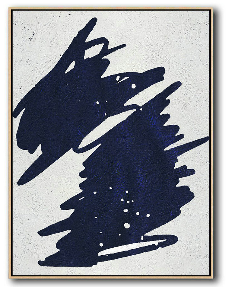 Buy Hand Painted Navy Blue Abstract Painting Online,Contemporary Art Acrylic Painting #T3F0