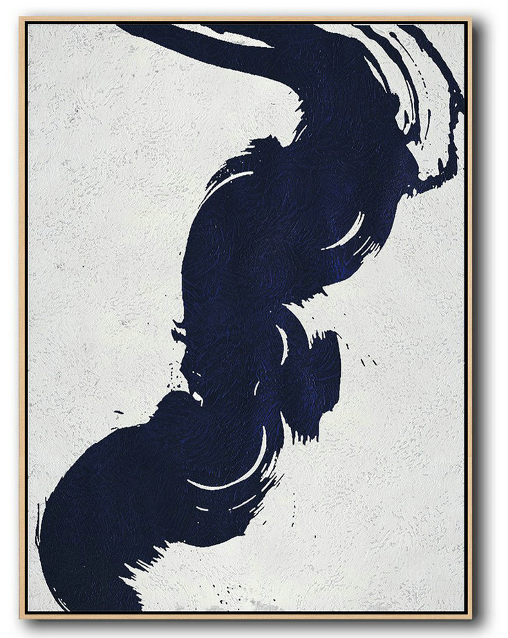 Buy Hand Painted Navy Blue Abstract Painting Online,Large Abstract Wall Art #X9T7