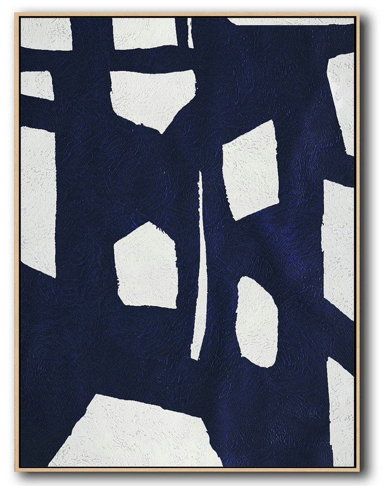 Buy Hand Painted Navy Blue Abstract Painting Online,Modern Canvas Art #C3I3