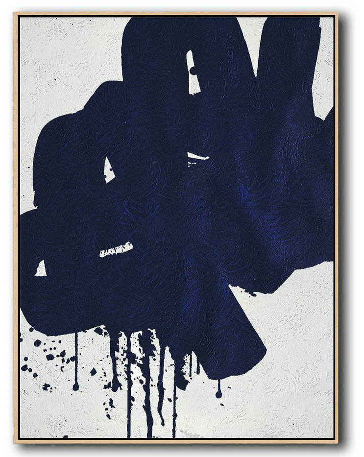 Buy Hand Painted Navy Blue Abstract Painting Online,Large Living Room Wall Decor #B1Q5