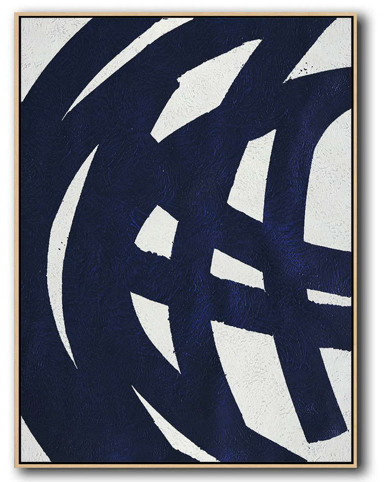 Buy Hand Painted Navy Blue Abstract Painting Online,Wall Art Ideas For Living Room #D8I6