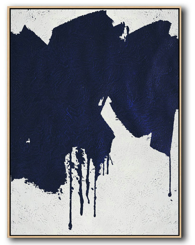Buy Hand Painted Navy Blue Abstract Painting Online,Large Living Room Decor #Q4D6