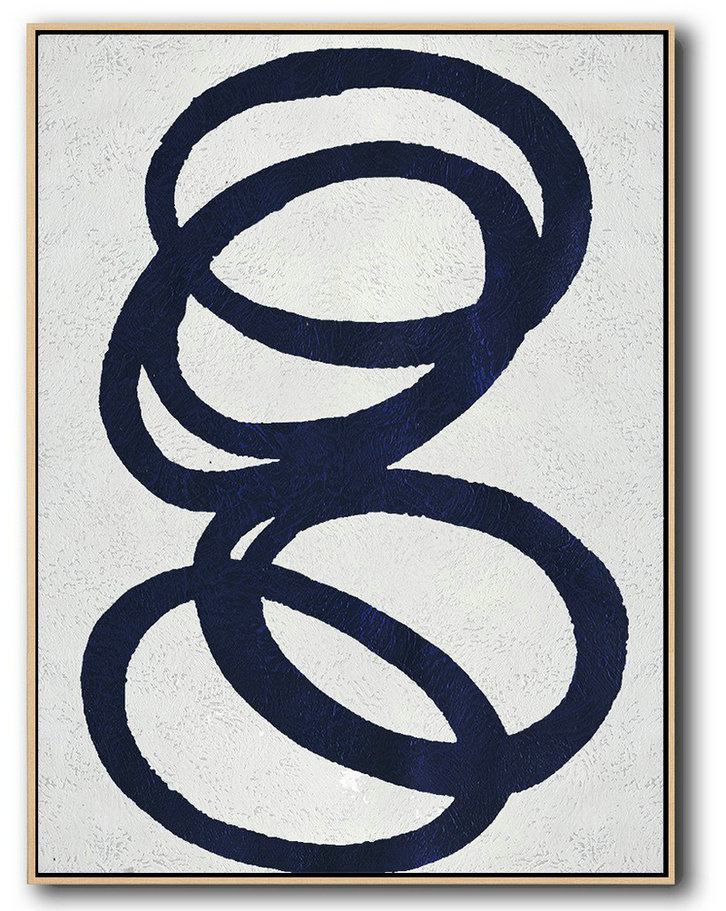 Buy Hand Painted Navy Blue Abstract Painting Online,Large Canvas Art,Modern Art Abstract Painting #Z4G2
