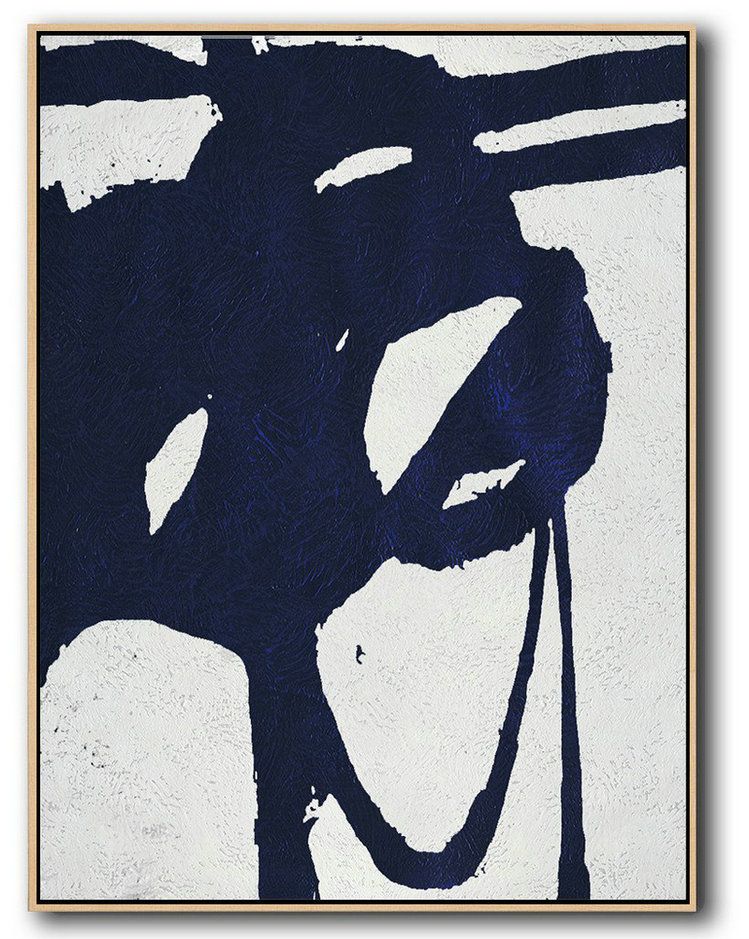Buy Hand Painted Navy Blue Abstract Painting Online,Huge Abstract Canvas Art #F7W7