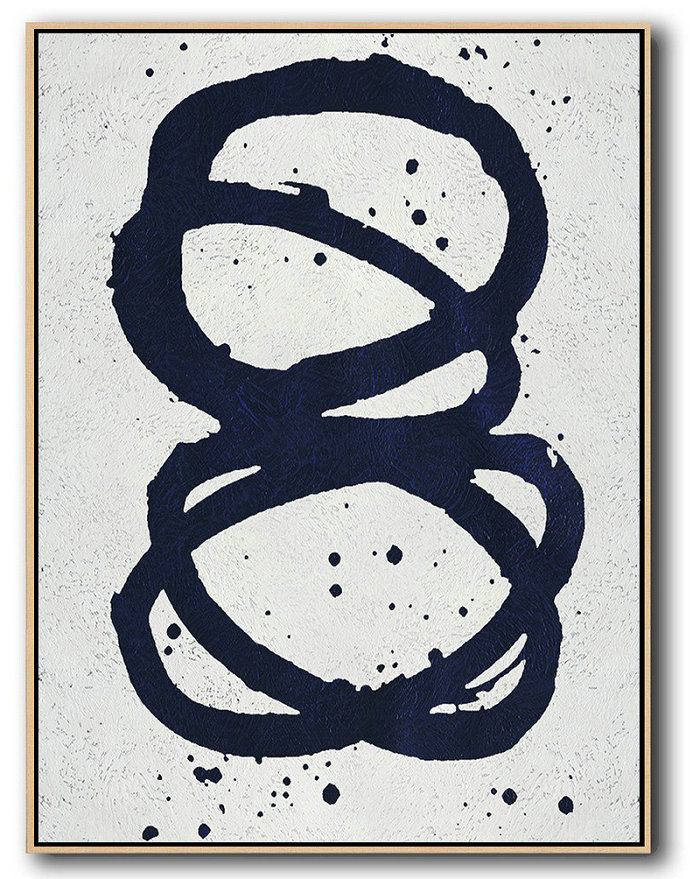 Buy Hand Painted Navy Blue Abstract Painting Online,Handmade Large Contemporary Art #B4J2