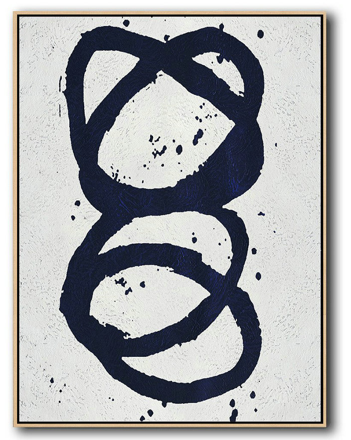 Buy Hand Painted Navy Blue Abstract Painting Online,Large Abstract Art Handmade Painting #I6U9