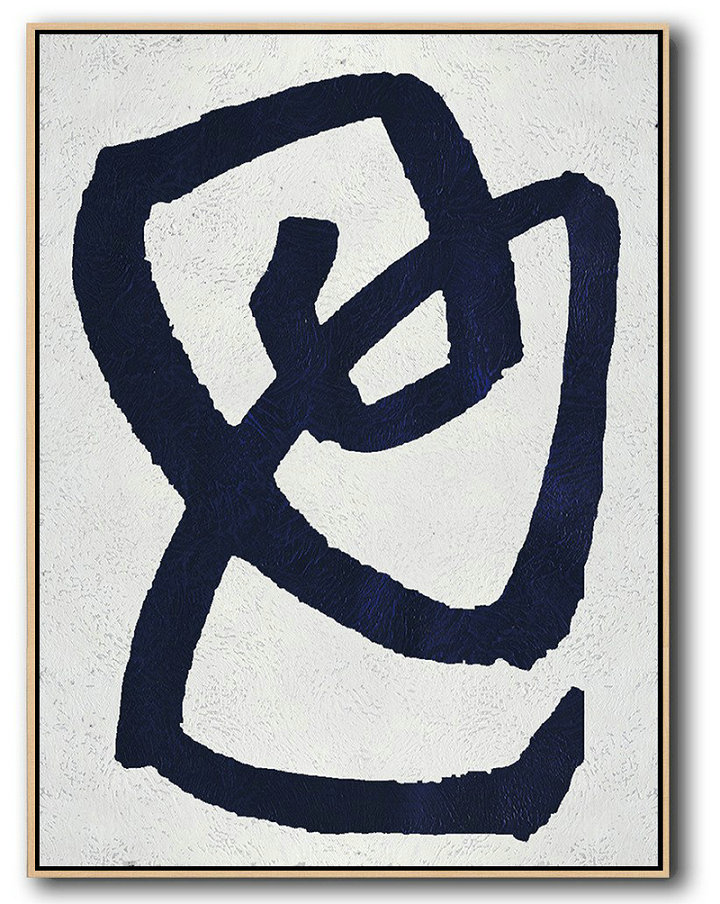 Buy Hand Painted Navy Blue Abstract Painting Online,Original Modern Art,Large Wall Art Handmade #F4L6