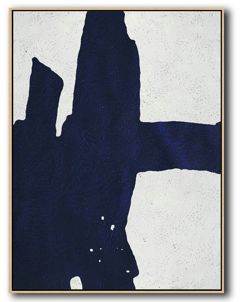 Buy Hand Painted Navy Blue Abstract Painting Online,Original Art Acrylic Painting #G0O5