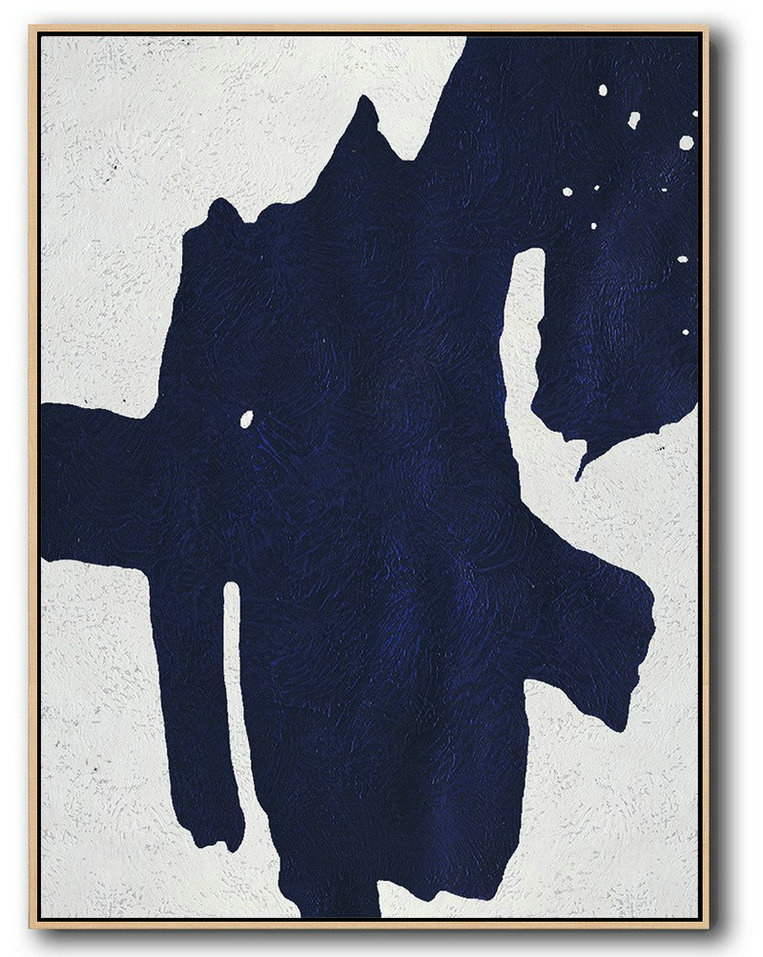 Buy Hand Painted Navy Blue Abstract Painting Online,Acrylic Painting On Canvas #S3Q6