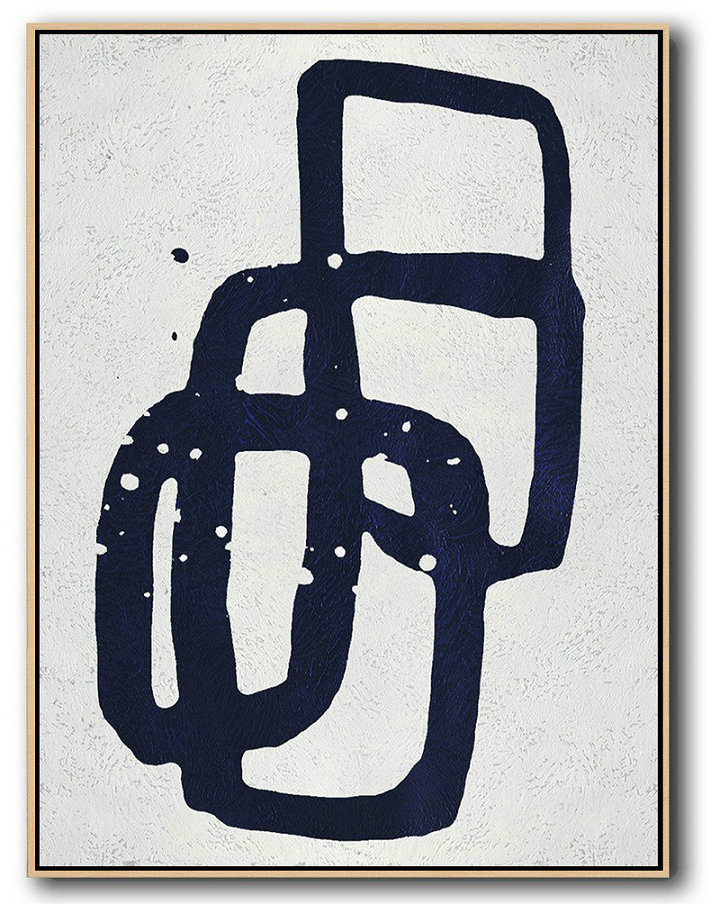 Buy Hand Painted Navy Blue Abstract Painting Online,Abstract Art On Canvas, Modern Art #Y3T4