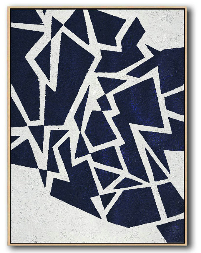 Buy Hand Painted Navy Blue Abstract Painting Online,Huge Abstract Painting On Canvas #V5Z4