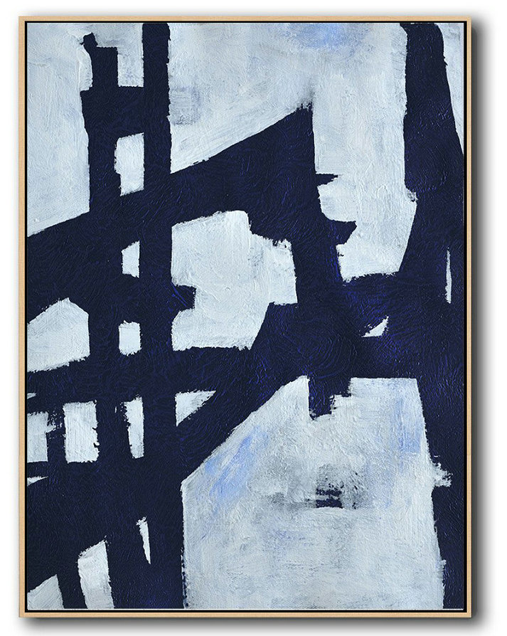 Buy Hand Painted Navy Blue Abstract Painting Online,Large Canvas Art #K1L8