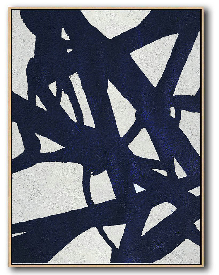 Buy Hand Painted Navy Blue Abstract Painting Online,Hand Painted Acrylic Painting #T3W3