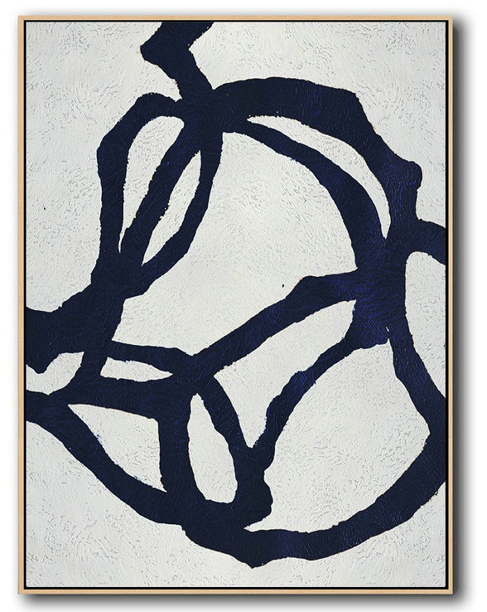 Buy Hand Painted Navy Blue Abstract Painting Online,Handmade Acrylic Painting #N7Z6