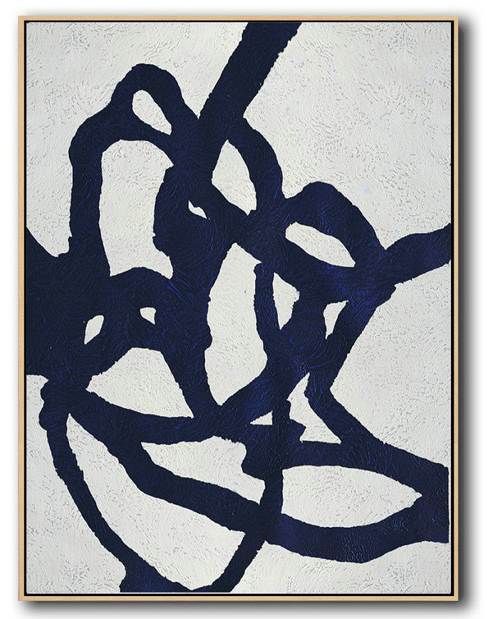 Buy Hand Painted Navy Blue Abstract Painting Online,Acrylic Minimailist Painting #B9X5