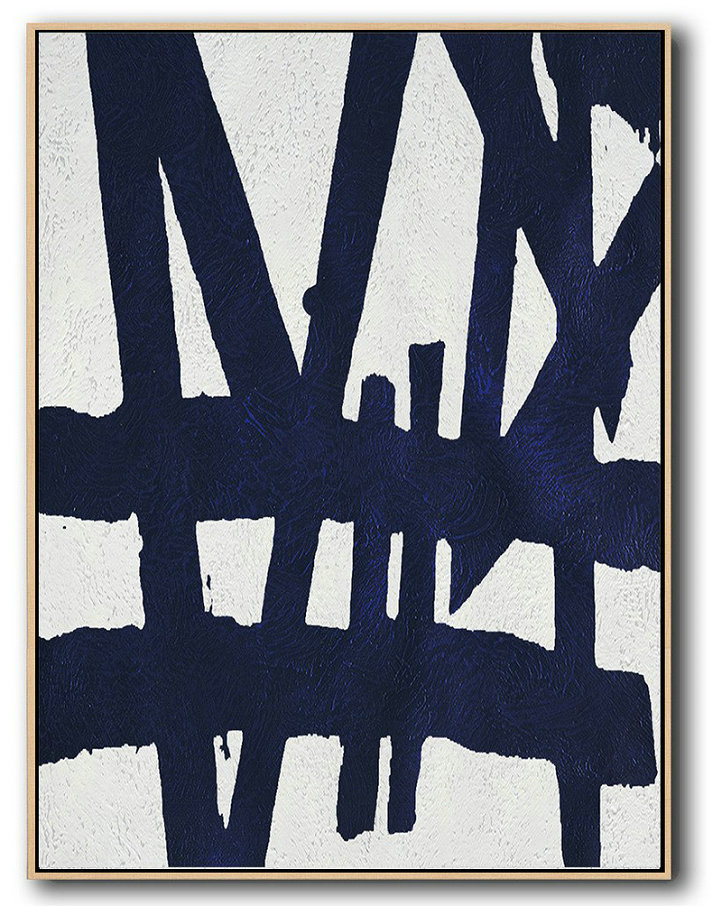 Buy Hand Painted Navy Blue Abstract Painting Online,Original Art Acrylic Painting #B4U3