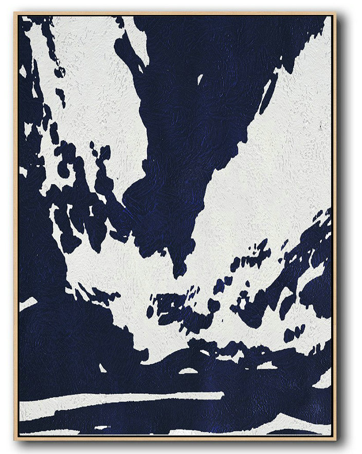 Buy Hand Painted Navy Blue Abstract Painting Online,Original Art #I0U9