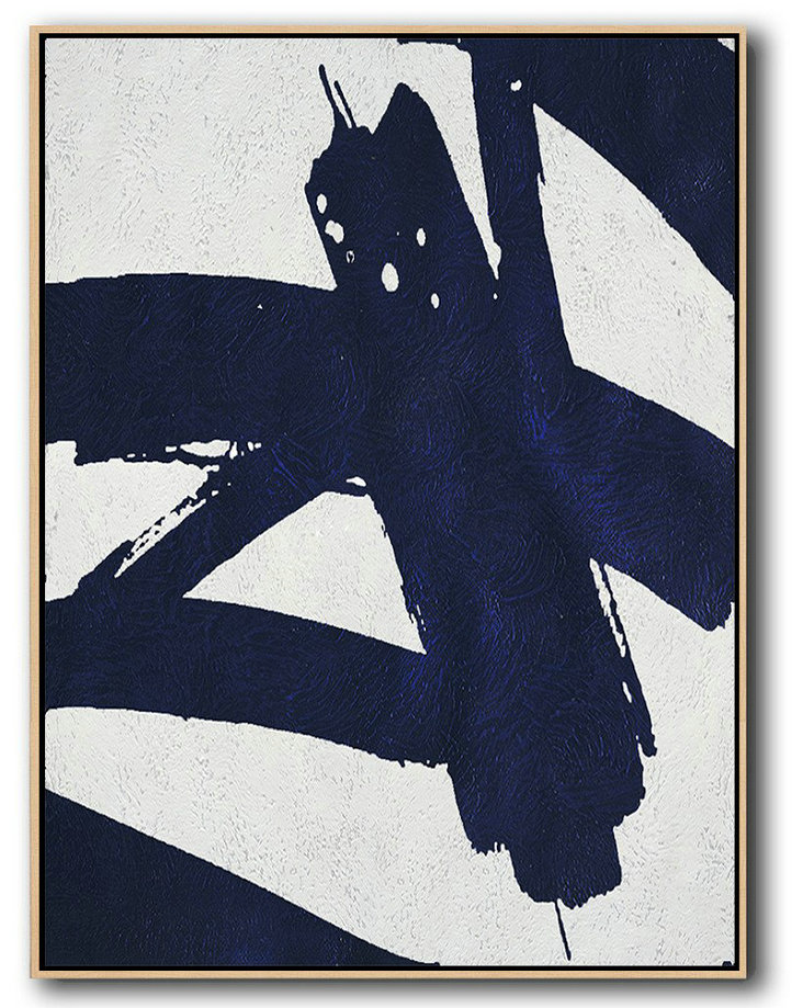 Buy Hand Painted Navy Blue Abstract Painting Online,Oversized Canvas Art #D7B9