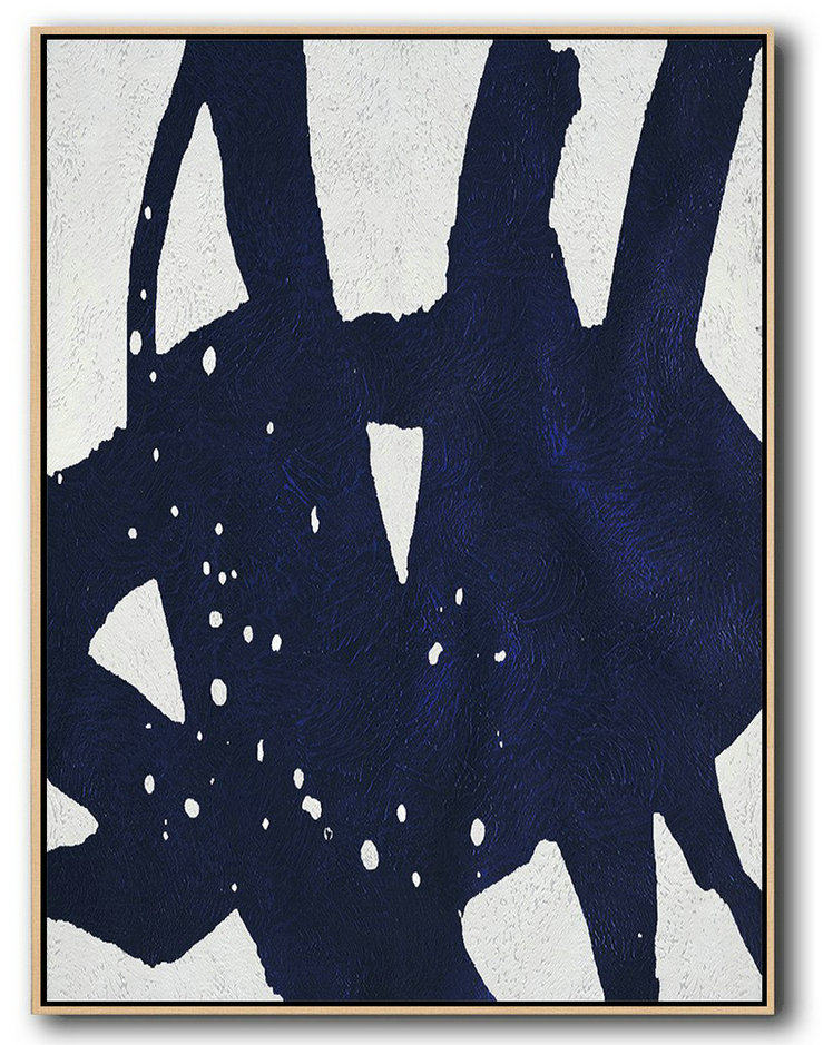 Buy Hand Painted Navy Blue Abstract Painting Online,Oversized Art #W2K3