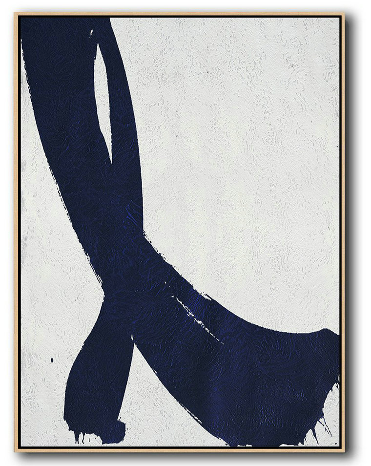 Buy Hand Painted Navy Blue Abstract Painting Online,Canvas Wall Art #N6Z0