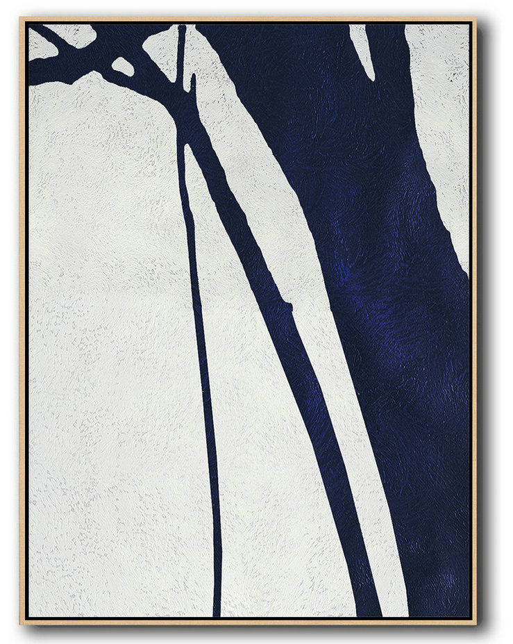 Buy Hand Painted Navy Blue Abstract Painting Online,Handmade Large Contemporary Art #H4E1