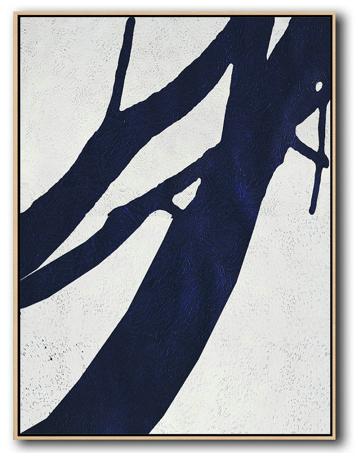 Buy Hand Painted Navy Blue Abstract Painting Online,Handmade Painting Large Abstract Art #L5K0