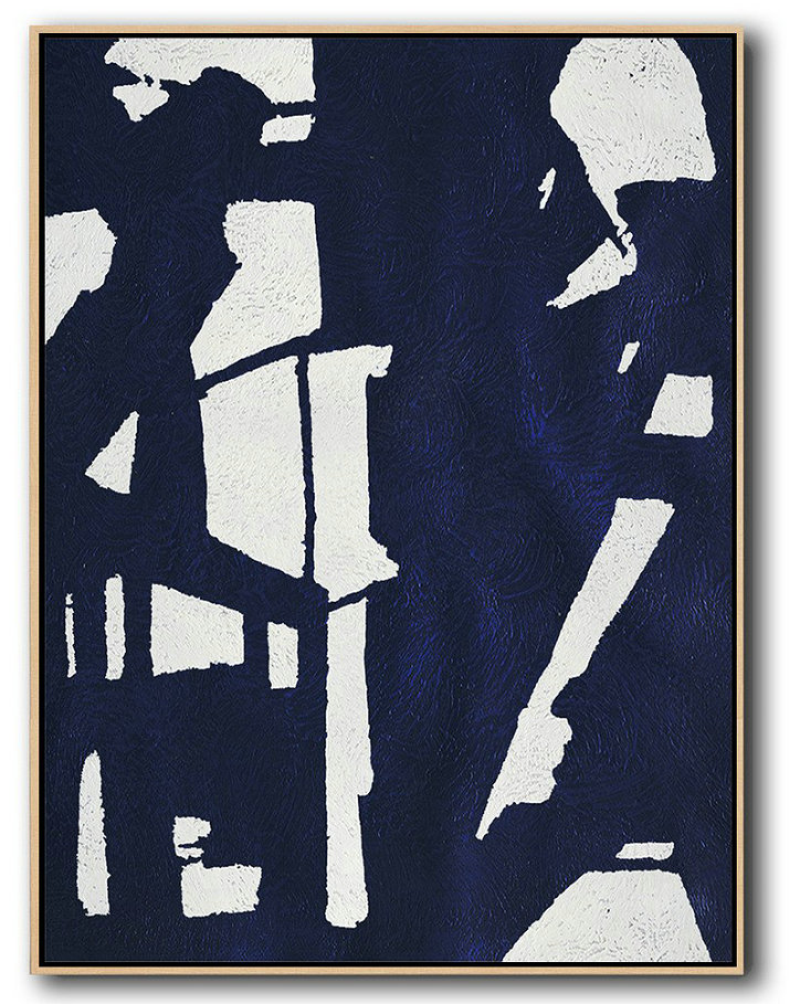 Buy Hand Painted Navy Blue Abstract Painting Online,Contemporary Art Acrylic Painting #F1D0