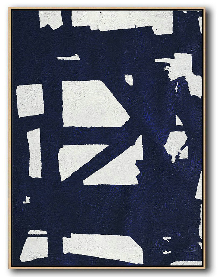 Buy Hand Painted Navy Blue Abstract Painting Online,Acrylic Painting On Canvas #U0R1