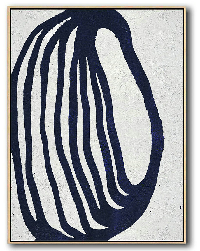 Buy Hand Painted Navy Blue Abstract Painting Online,Large Abstract Wall Art #T6S5