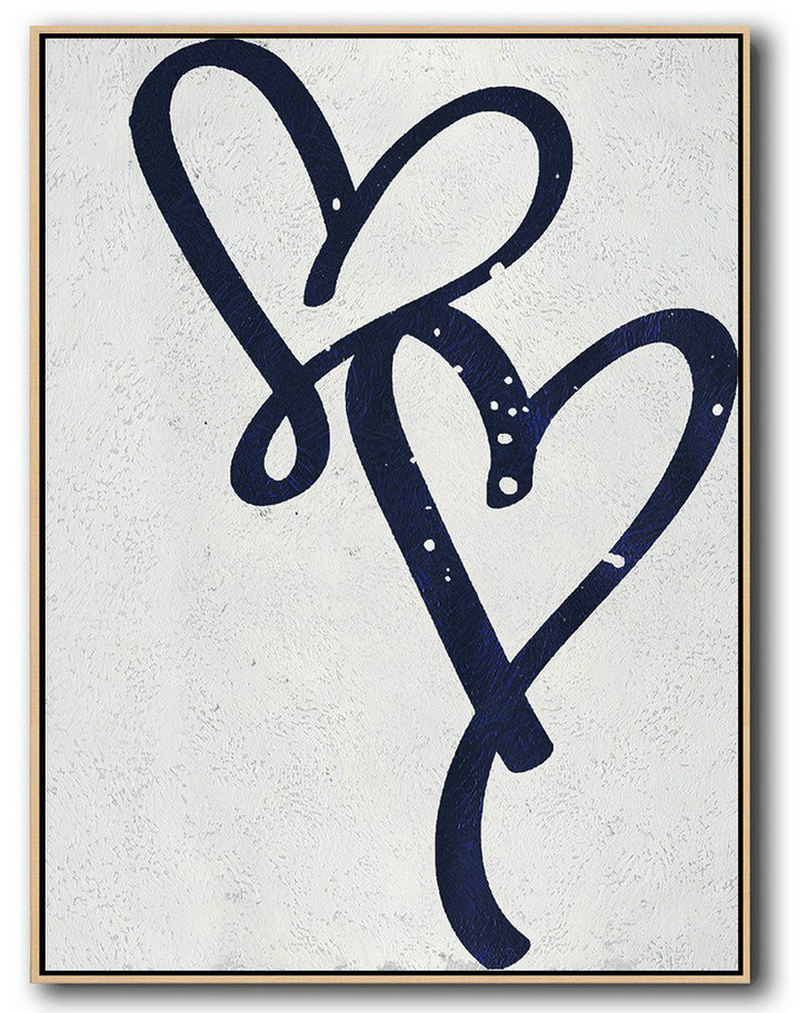 Buy Hand Painted Navy Blue Abstract Painting Online,Modern Canvas Art #S2S1