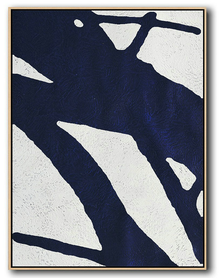 Buy Hand Painted Navy Blue Abstract Painting Online,Canvas Paintings For Sale #D1Q0