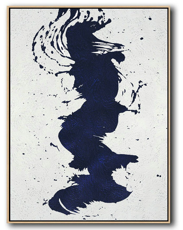 Buy Hand Painted Navy Blue Abstract Painting Online,Large Living Room Wall Decor #A4G7