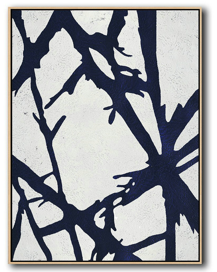 Buy Hand Painted Navy Blue Abstract Painting Online,Huge Abstract Canvas Art #W9B4