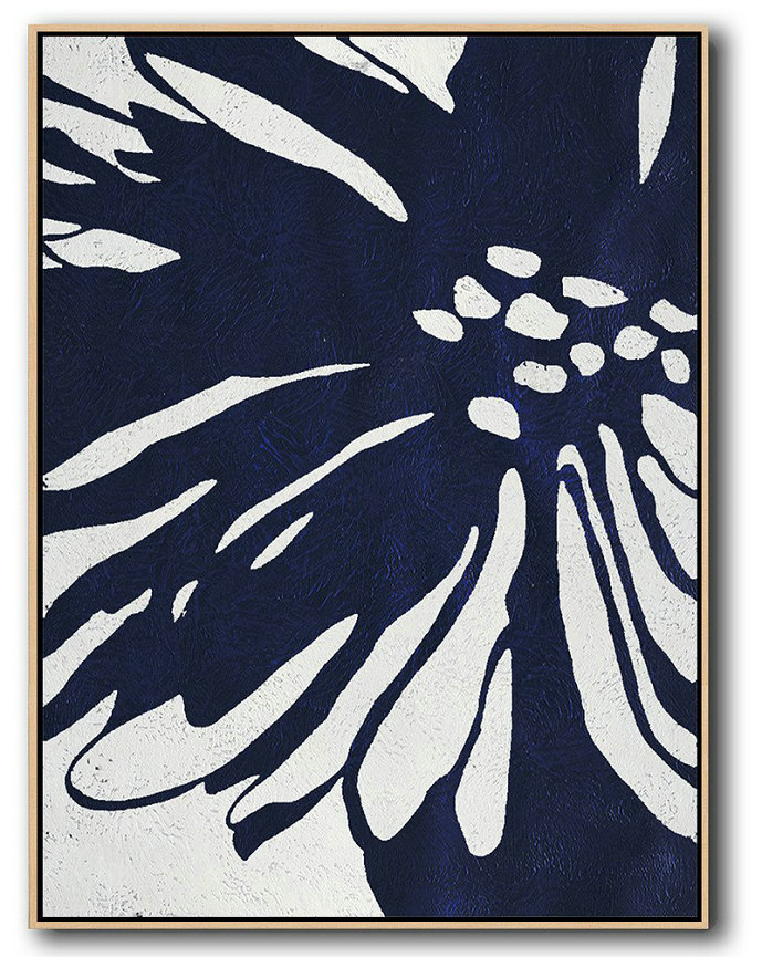 Buy Hand Painted Navy Blue Abstract Painting Online,Big Painting #E5T6