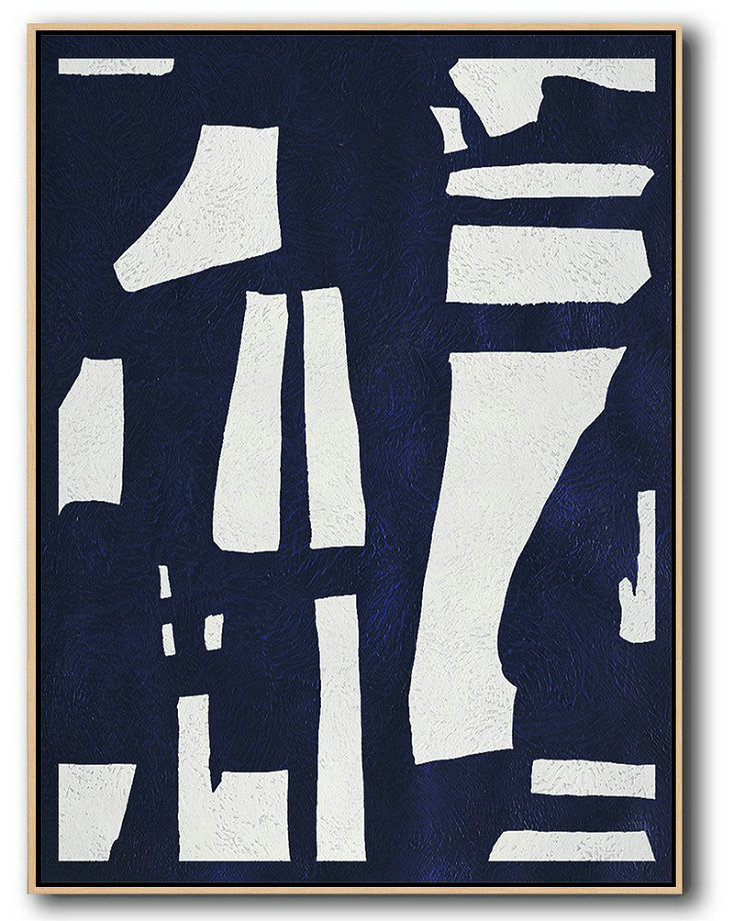 Buy Hand Painted Navy Blue Abstract Painting Online,Hand Painted Acrylic Painting #Q0Z6