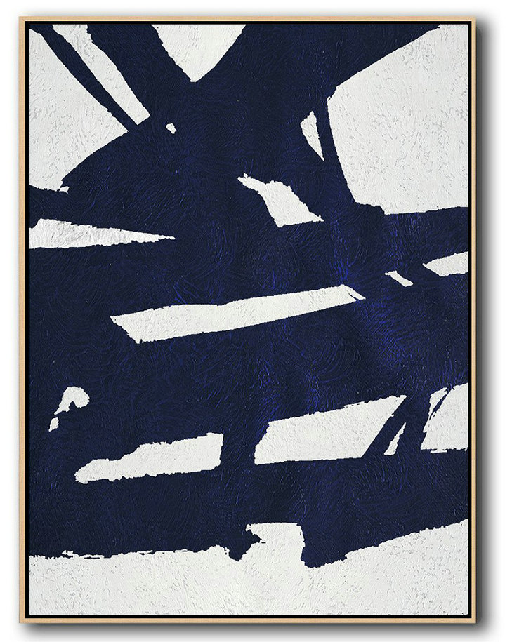 Buy Hand Painted Navy Blue Abstract Painting Online,Acrylic Painting Large Wall Art #P5E6