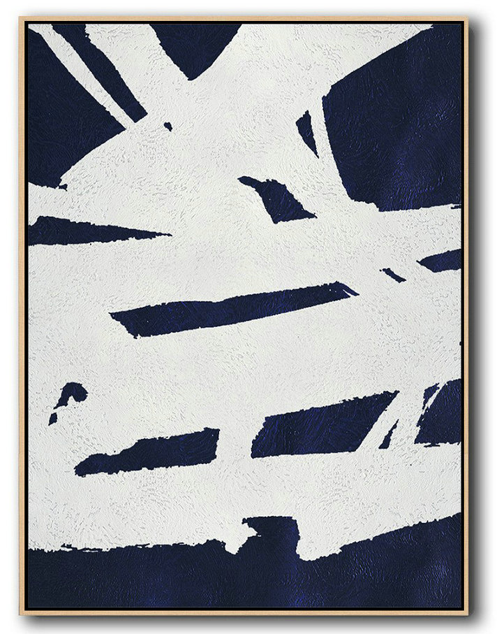 Buy Hand Painted Navy Blue Abstract Painting Online,Hand-Painted Contemporary Art #N6Q7