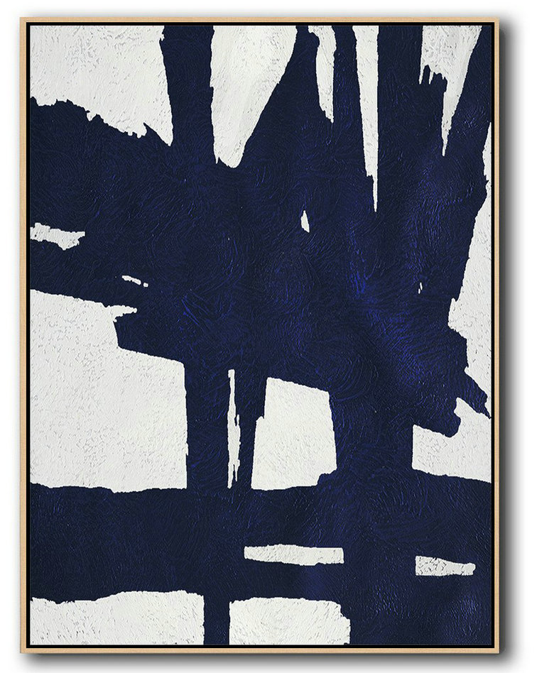 Buy Hand Painted Navy Blue Abstract Painting Online,Large Canvas Wall Art For Sale #L3Q3