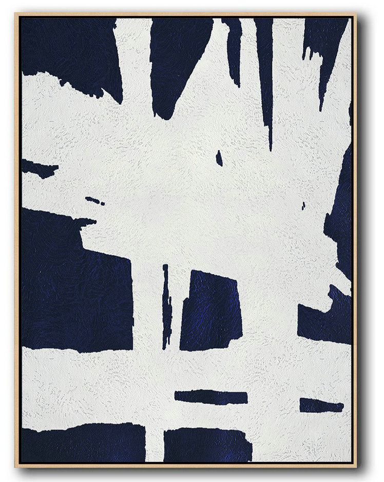 Buy Hand Painted Navy Blue Abstract Painting Online,Modern Paintings On Canvas #G3I9