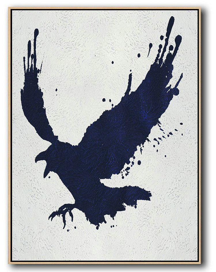 Buy Hand Painted Navy Blue Abstract Painting Online,Acrylic Painting Wall Art #U2A5