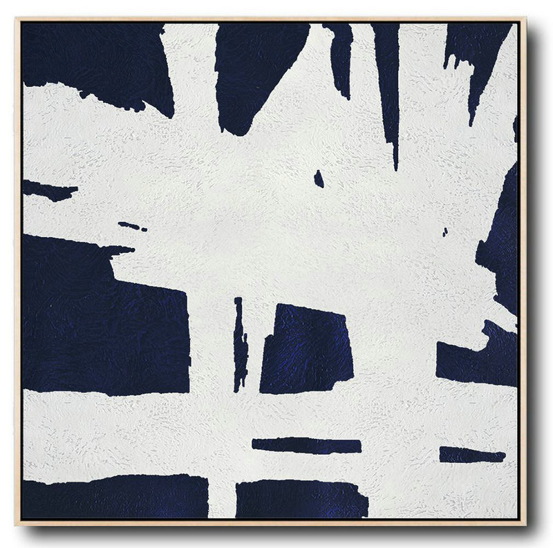 Buy Large Canvas Art Online - Hand Painted Navy Minimalist Painting On Canvas,Acrylic On Canvas Abstract #P6T0